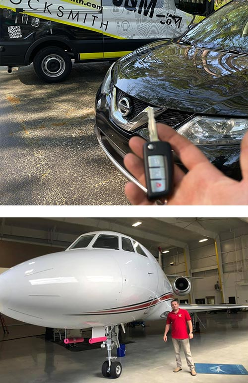 we can replace keys for all types of automobiles (top) AND even airplanes (bottom)
