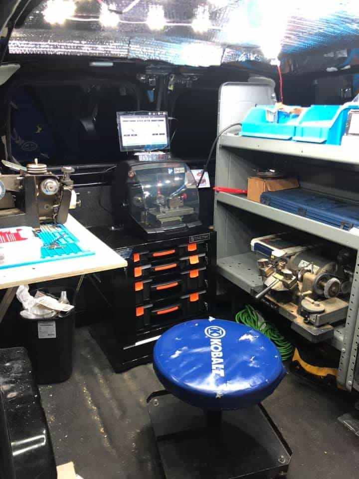 workshop inside J&M's locksmith van