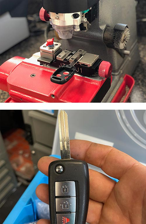 image of a laser key cutter and a car key (top) and a flip key blank that we cut for a customer (bottom)